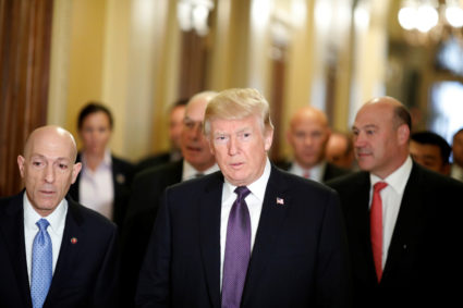 """U.S. President Donald Trump arrives with Director of the National Economic Council Gary Cohn at the U.S. Capitol to meet with House Republicans ahead of their vote on the """"Tax Cuts and Jobs Act"""" in Washington, U.S., November 16, 2017. REUTERS/Aaron P. Bernstein - RC1DDBBAF4B0"""