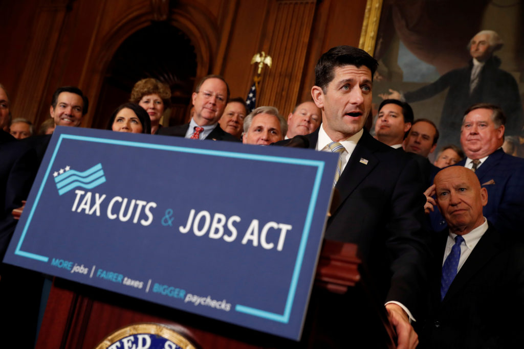 """Speaker of the House Paul Ryan speaks at news conference announcing the passage of the """"Tax Cuts and Jobs Act"""" at the U.S. Capitol in Washington, U.S., November 16, 2017. REUTERS/Aaron P. Bernstein - RC14C242FFF0"""