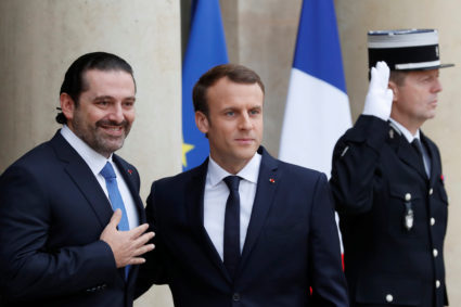 French President Emmanuel Macron and Saad al-Hariri, who announced his resignation as Lebanon's prime minister while on a visit to Saudi Arabia, are pictured at the Elysee Palace in Paris