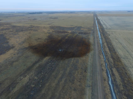 An aerial view of an oilspill which shut down the Keystone pipeline between Canada and the United States in an agricultural area near Amherst South Dakota