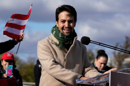 Actor, composer and playwright Lin-Manuel Miranda participates in the Unity March at the Lincoln Memorial in Washington