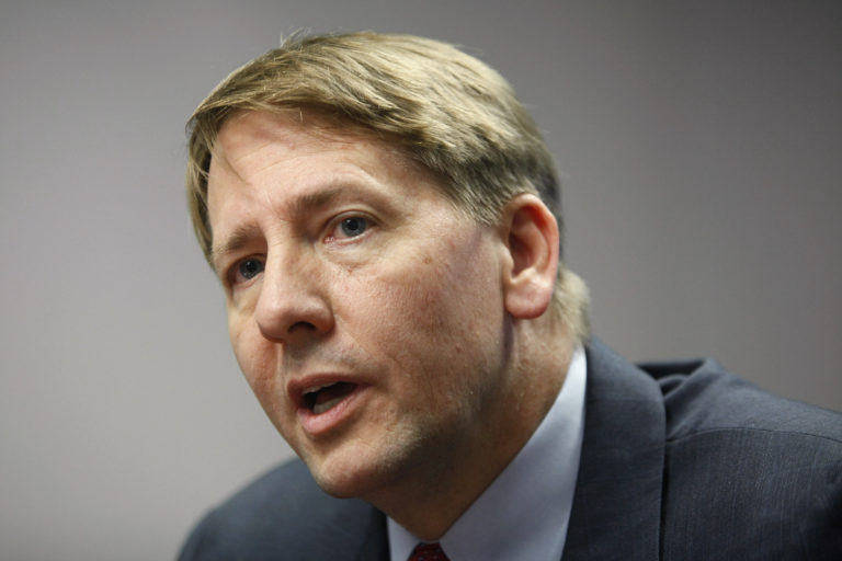 File photo of Consumer Financial Protection Bureau Director Richard Cordray by Jonathan Ernst/Reuters