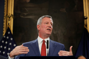New York City Mayor Bill de Blasio speaks regarding the U.S. President Donald Trump's federal budget proposal at the City Hall in New York