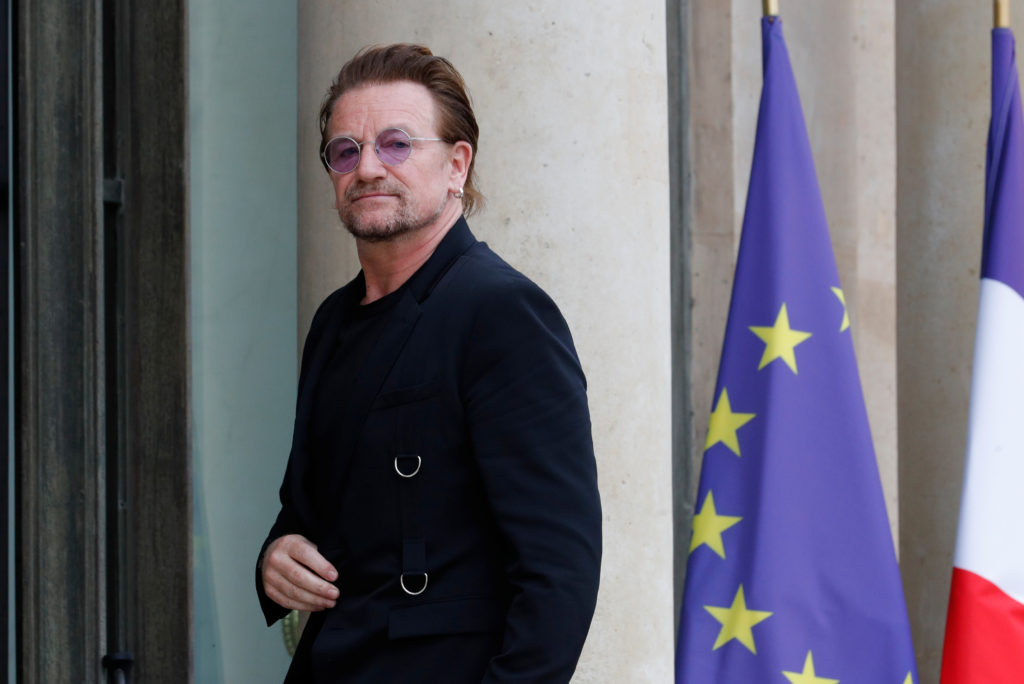 Singer Bono of the Irish band U2 and co-founder of ONE organization arrives at the Elysee Palace in Paris on July 24, 2017. Photo by Philippe Wojazer/Reuters
