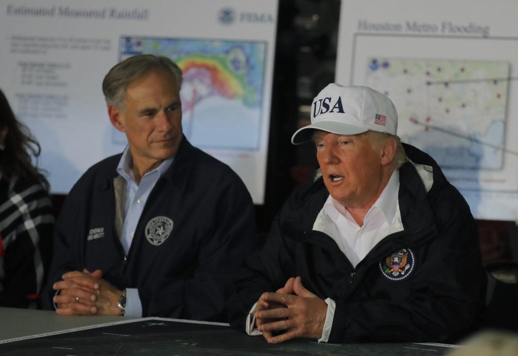 U.S. President Trump receives briefing on Tropical Storm Harvey relief efforts in Corpus Christi, Texas
