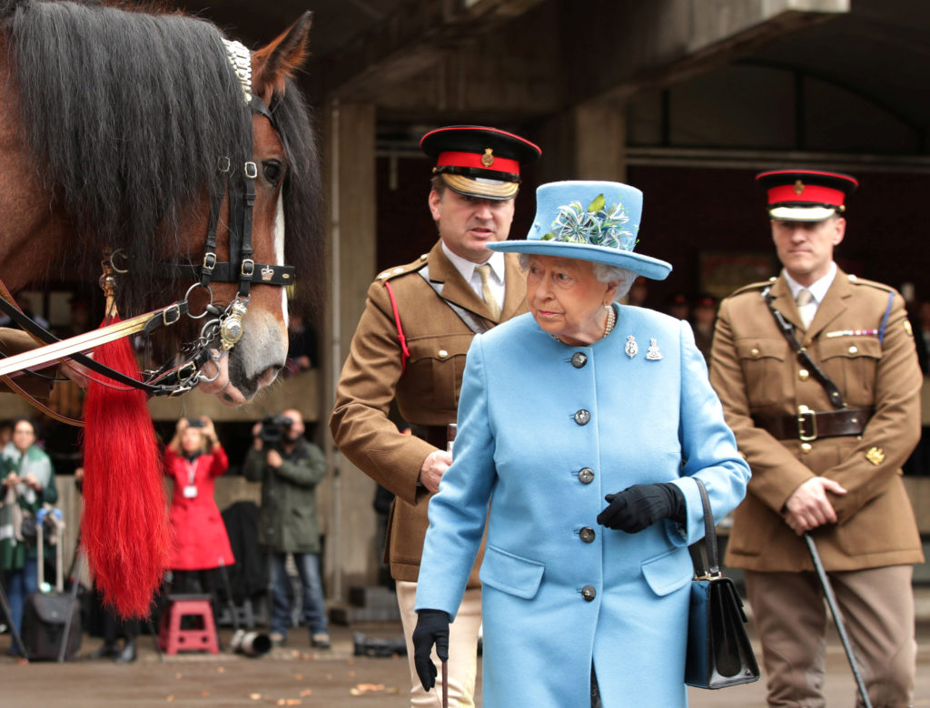 Britain's Queen Elizabeth II visits the Household Cavalry Mounted Regiment at the Hyde Park Barracks in London on Oct. 24. Photo by Yui Mok/Pool via Reuters