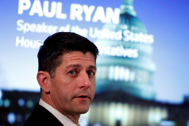 U.S. House Speaker Paul Ryan (R-WI) sits for an onstage interview with Reuters' Adler in Washington