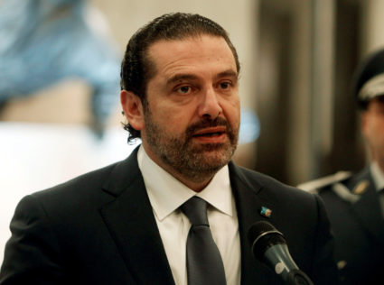 Saad Hariri, who suspended his decision to resign as prime minister, speaks at the presidential palace in Baabda, Lebanon on Nov. 22. Photo by Aziz Taher/Reuters