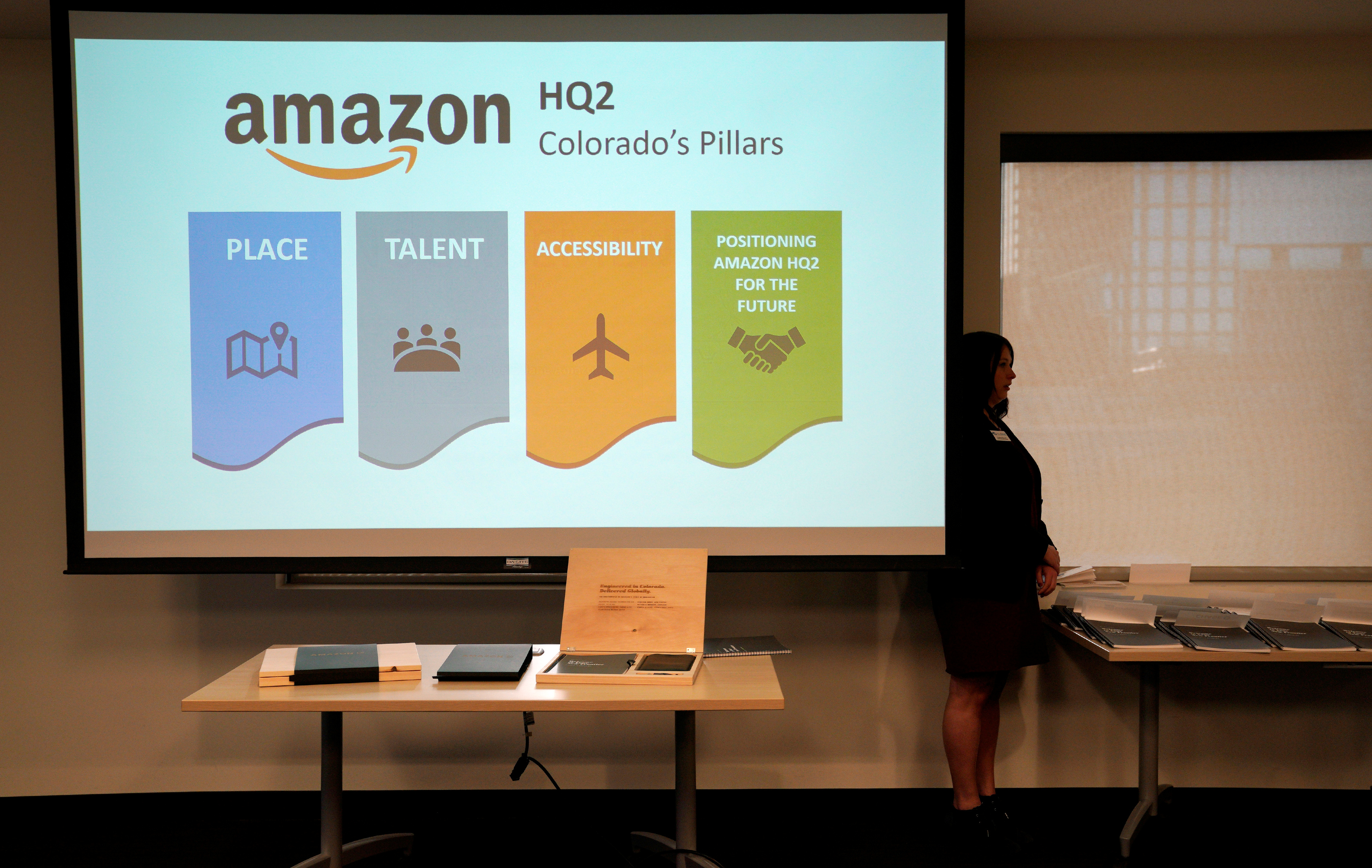 The Colorado proposal for the Amazon.com Inc's $5 billion second headquarters is unveiled at a meeting in Denver, Colorado, U.S. on November 16, 2017. REUTERS/Rick Wilking - RC14ED43B360