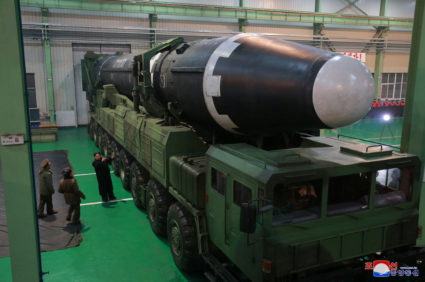 North Korean leader Kim Jong Un inspects the intercontinental ballistic missile Hwasong-15 in this undated photo released by North Korea's Korean Central News Agency in Pyongyang on Nov. 30. Handout photo by KCNA via Reuters