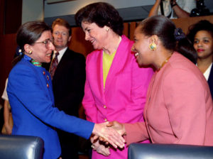 US President 's first Supreme Court nominee, Ruth Bader Ginsburg (left) is greeted by the first two ..