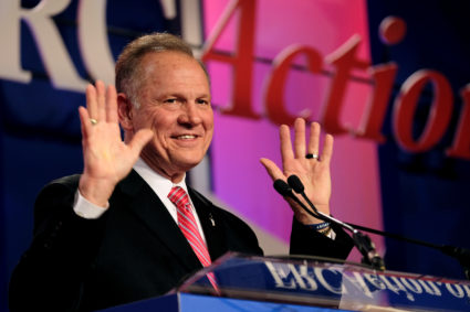 Former Alabama Supreme Court Chief Justice Roy Moore speaks at the Values Voter Summit of the Family Research Council in Washington, DC, U.S. October 13, 2017. Photo by James Lawler/REUTERS