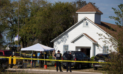 Law enforcement officials investigate a mass shooting at the First Baptist Church in Sutherland Springs, Texas, U.S. November 5, 2017. Nick Wagner/AMERICAN-STATESMAN via REUTERS. THIS IMAGE HAS BEEN SUPPLIED BY A THIRD PARTY. NO ARCHIVES, NO RESALES. MANDATORY CREDIT - RC119AC243F0