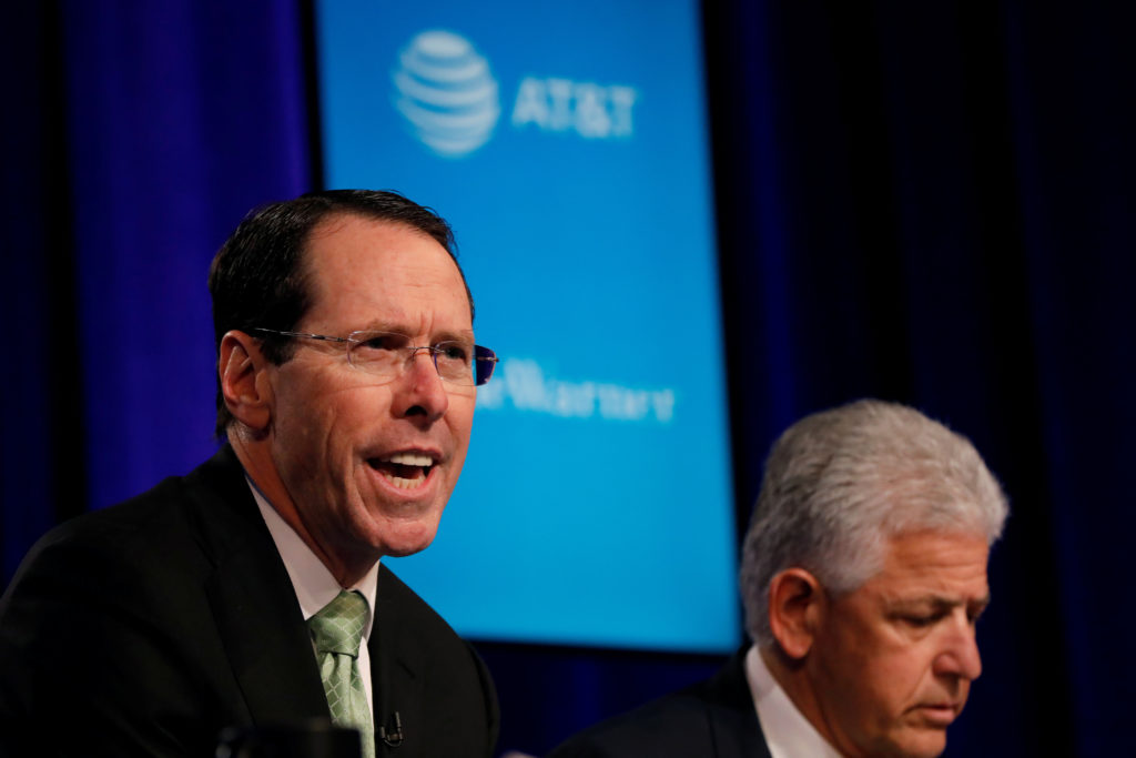 Chief Executive Officer of AT&T Randall Stephenson speaks during a press conference in New York City, New York, U.S. November 20, 2017. REUTERS/Shannon Stapleton - RC1E05481930