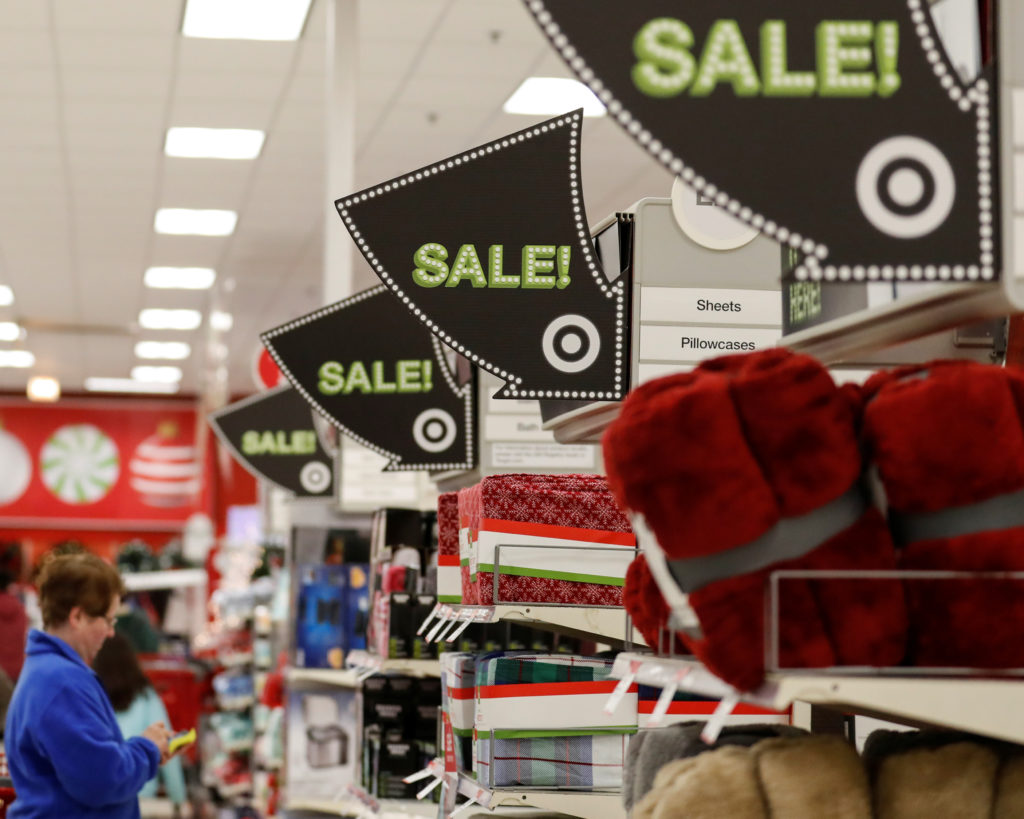Signs point to the sale items during the Black Friday sales event on Thanksgiving Day at Target in Chicago, Illinois, U.S., November 24, 2016. Photo by Kamil Krzaczynski/REUTERS