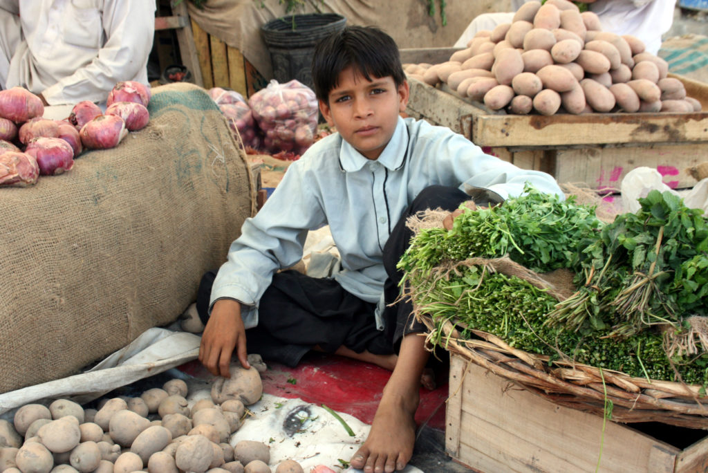 A boy sells vegetables and plants at a market in Karachi. Pakistan's other main agricultural products include cotton, wheat and sugarcane. Photo by Larisa Epatko