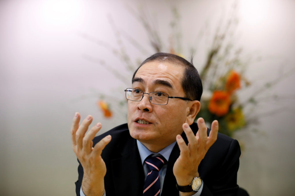 Thae Yong Ho, North Korea¡¯s former deputy ambassador in London who defected to the South, speaks during an interview with...
