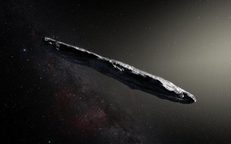 This artist's impression shows the first interstellar asteroid: `Oumuamua. Photo by M. Kornmesser
