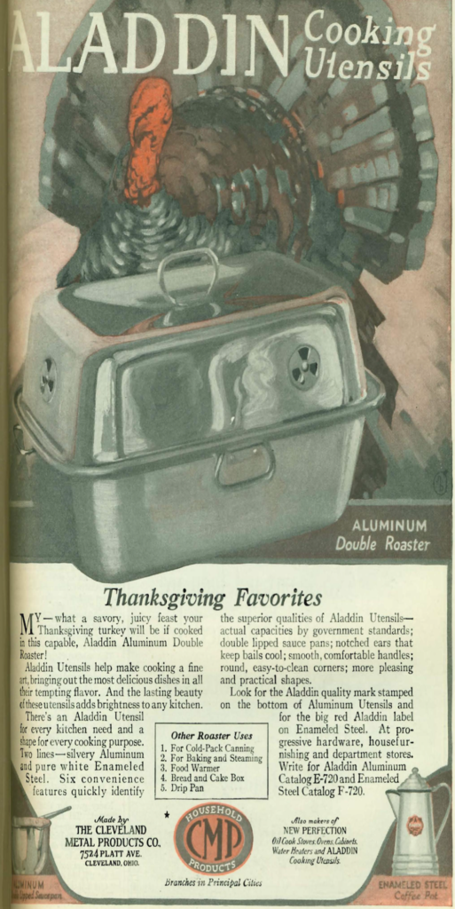 Aladdin Cooking Utensils advertises its double roaster in a 1920 issue of Good Housekeeping. Illustration by Good Housekeeping