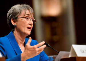 U.S. Secretary of the Air Force Nominee Heather Wilson testifies before the Senate Armed Services Committee, as a part of the confirmation process in Washington, DC, U.S. on March 30, 2017. Picture taken on March 30, 2017. Scott M. Ash/Courtesy U.S. Air Force/Handout via REUTERS ATTENTION EDITORS - THIS IMAGE WAS PROVIDED BY A THIRD PARTY. EDITORIAL USE ONLY. - RC136D2FE800