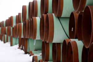 FILE PHOTO: A depot used to store pipes for Transcanada Corp's planned Keystone XL oil pipeline is seen in Gascoyne, North Dakota, January 25, 2017. REUTERS/Terray Sylvester/File Photo - RC12E11CFEF0