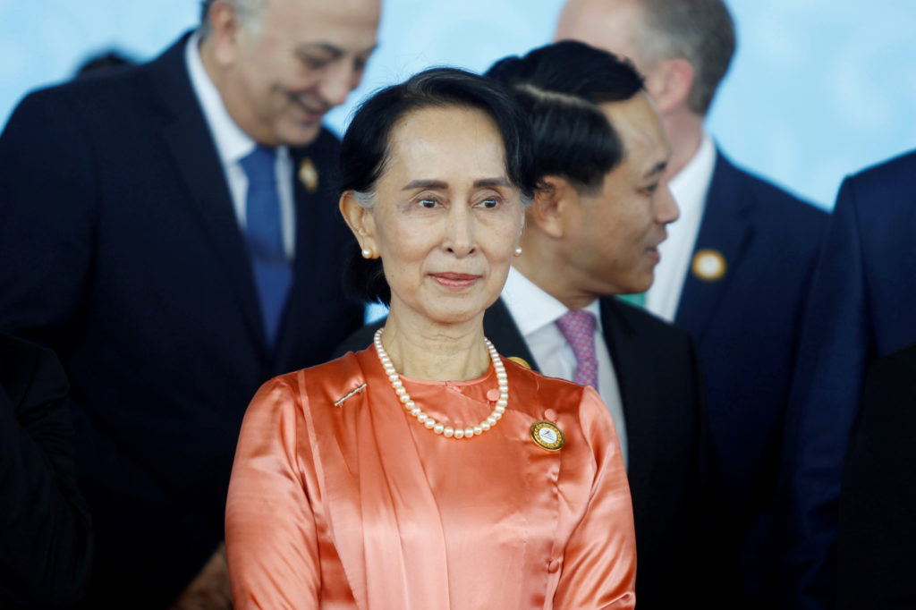 Myanmar State Counselor Aung San Suu Kyi attends the 13th Asia Europe Foreign Ministers Meeting in Naypyitaw, Myanmar, on Nov. 20. Photo by Reuters stringer