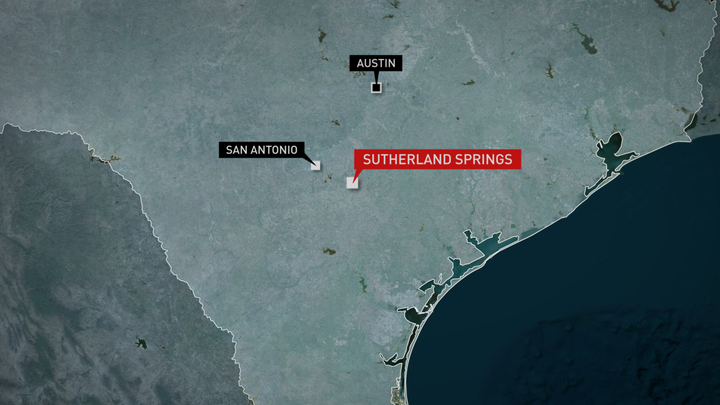 Sutherland Springs is approximately 30 miles east of San Antonio. Graphic by Lisa Overton