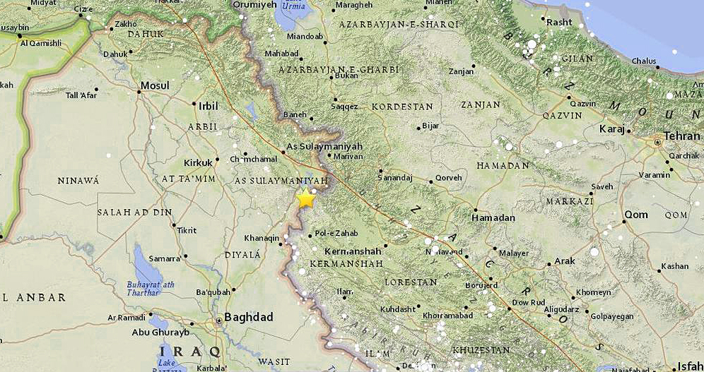map shows location of earthquake on iraq iran border courtesy of the us geological