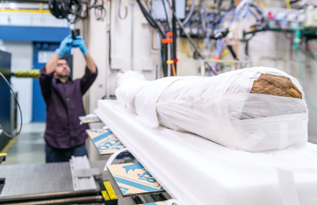 Hibbard mummy at the Advanced Photon Source. Photo by Northwestern University