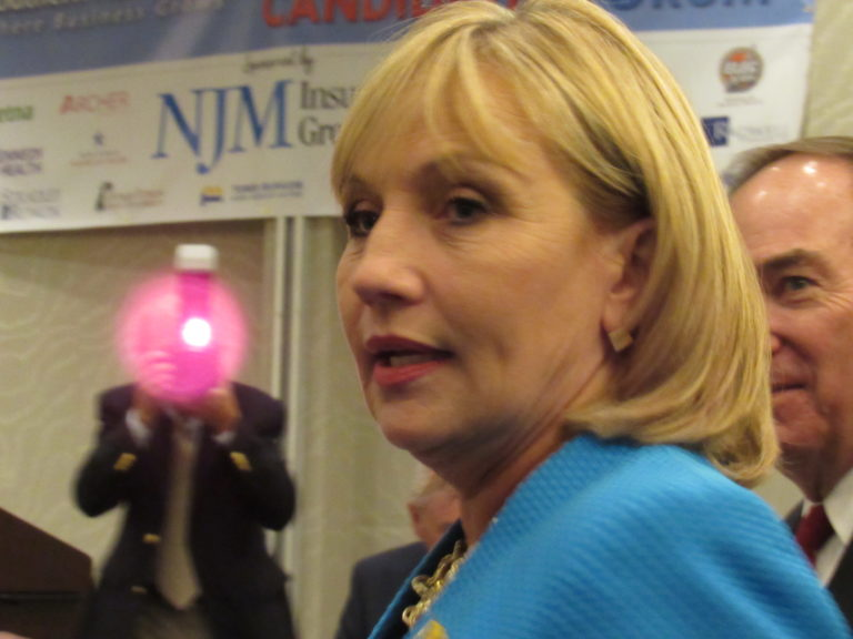 Candidate for New Jersey Governor, Lieutenant Governor of New Jersey Kim Guadagno delivers remarks to an audience in Mount Laurel, NJ on August 15, 2017. (Photo by Kyle Mazza/NurPhoto via Getty Images)
