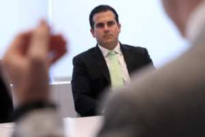 Ricardo Rossello, Governor of Puerto Rico, listens to a question during an interview in New York, U.S., June 29, 2017. REUTERS/Shannon Stapleton - RC124740A940