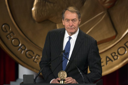 "Journalist Charlie Rose speaks after winning a Peabody Award for his work in ""One on One with Assad"" in New York May 19, 2014. The Peabody Awards are awarded annually by the University of Georgia to recognize achievement and meritorious public service in television, radio, and on the internet. REUTERS/Lucas Jackson (UNITED STATES - Tags: MEDIA ENTERTAINMENT) - GM1EA5K0DGV01"