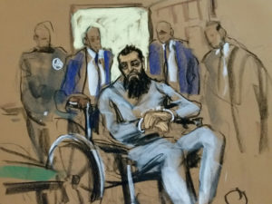 Sayfullo Saipov, the suspect in the New York City truck attack, is seen in this courtroom sketch appearing in Manhattan federal courtroom in a wheelchair in New York, NY, U.S., November 1, 2017. REUTERS/Jane Rosenberg FOR EDITORIAL USE ONLY. NO RESALES. NO ARCHIVES - RC1AB7699C00