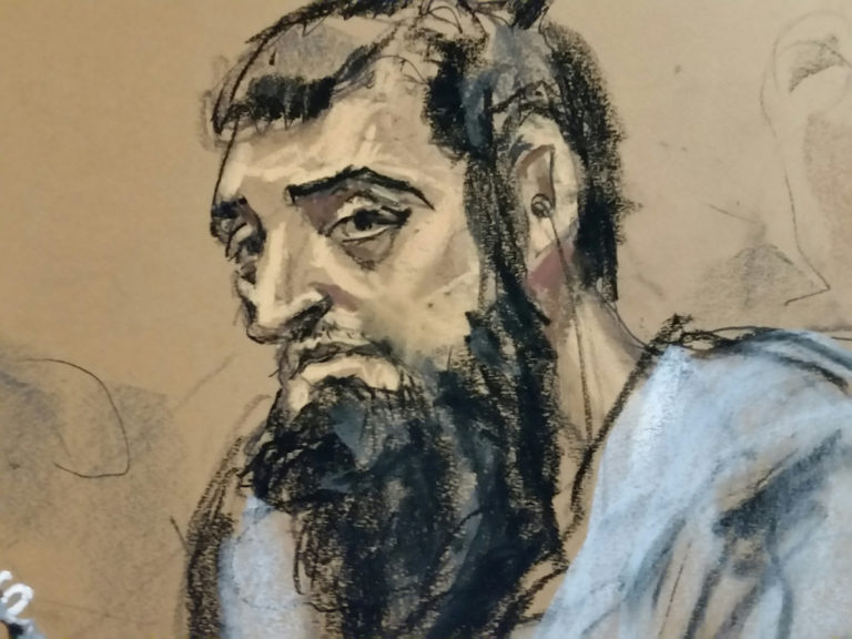 Sayfullo Saipov, the suspect in the New York City truck attack, is seen in this courtroom sketch appearing in Manhattan federal courtroom in a wheelchair in New York, NY, U.S., November 1, 2017. REUTERS/Jane Rosenberg FOR EDITORIAL USE ONLY. NO RESALES. NO ARCHIVES - RC1EE7779FA0