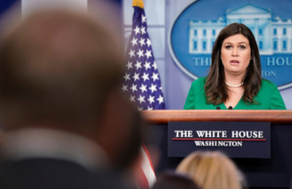 White House Press Secretary Sarah Huckabee Sanders speaks during a press briefing at the White House in Washington, U.S., October 2, 2017. REUTERS/Joshua Roberts - RC19091AF820