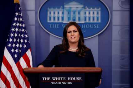 White House Press Secretary Sarah Huckabee Sanders holds the daily briefing at the White House in Washington, U.S. October 18, 2017. REUTERS/Jonathan Ernst - RC15DC6DF560