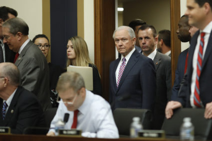 U.S. Attorney General Jeff Sessions arrives prior to testifying at a House Judiciary Committee hearing on oversight of the Justice Department on Capitol Hill in Washington, U.S., November 14, 2017. REUTERS/Aaron P. Bernstein - HP1EDBE1A9KQN
