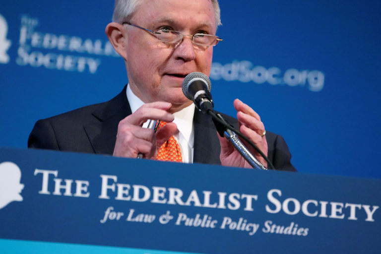 U.S. Attorney General Jeff Sessions speaks at the Federalist Society's 2017 National Lawyers Convention in Washington, U.S., November 17, 2017. REUTERS/Joshua Roberts - RC1DD12D55F0