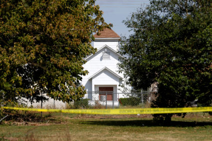 The entrance to the First Baptist Church of Sutherland Springs, the site of the shooting, is seen in Sutherland Springs, Texas, U.S., November 7, 2017. REUTERS/Jonathan Bachman - RC19D1E285B0