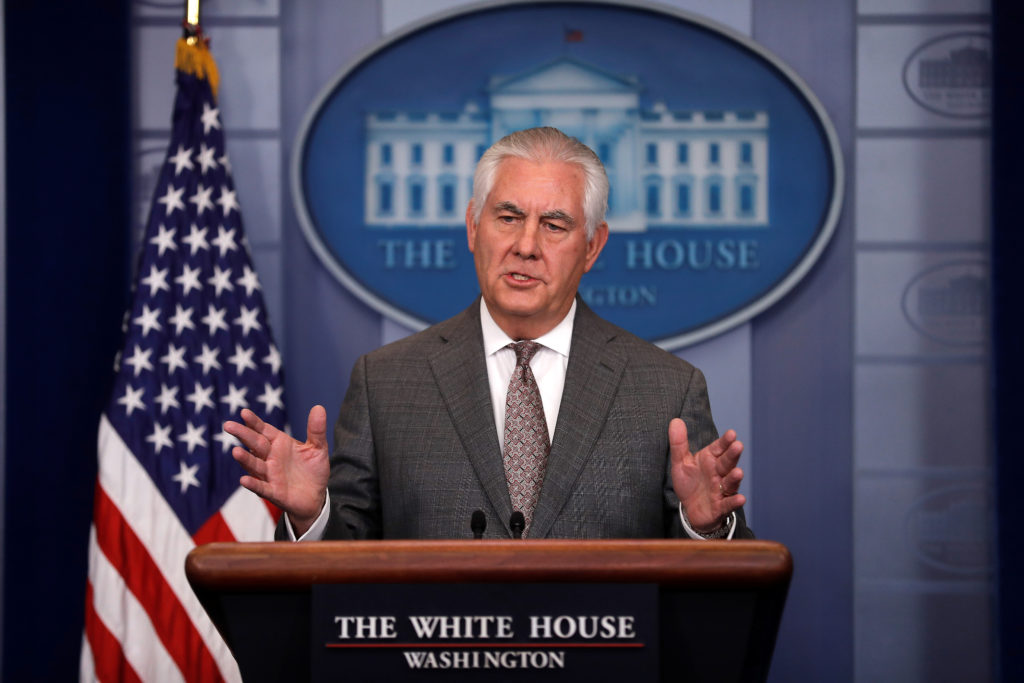 Secretary of State Rex Tillerson answers questions during the daily briefing at the White House on Nov. 20. Photo by Carlos Barria/Reuters