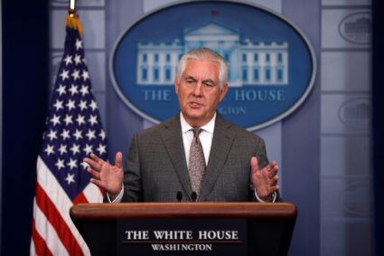 U.S. Secretary of State Rex Tillerson answers questions during the daily briefing at the White House in Washington, DC, U.S. November 20, 2017. REUTERS/Carlos Barria - RC16B58DC740