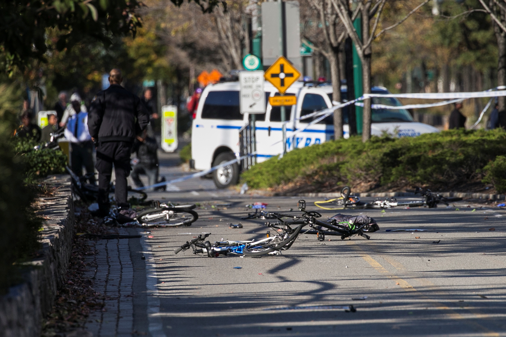 Multiple bikes are seen crushed along a bike path in Lower Manhattan after a man driving a rented pickup truck mowed down pedestrians and cyclists on a bike path in New York, U.S., October 31, 2017. Picture taken October 31, 2017.  REUTERS/Brendan McDermid - RC1A67CB0500