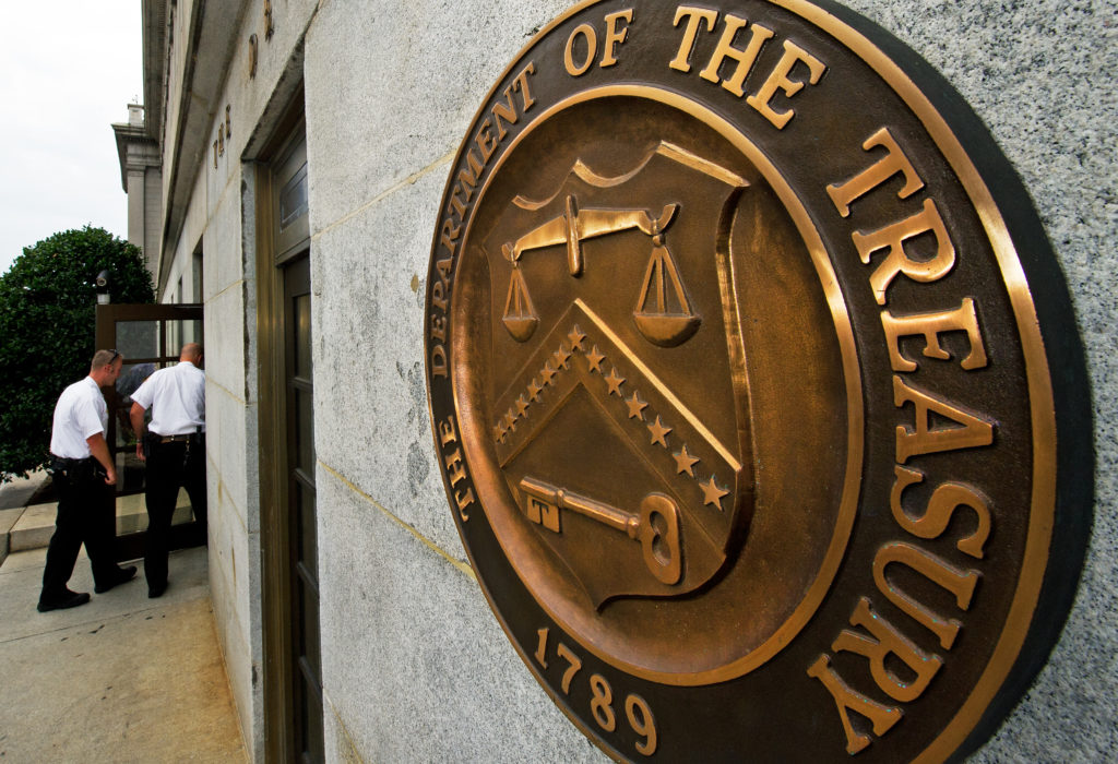 File photo of U.S. Treasury Department by Paul J. Richards/AFP/Getty Images