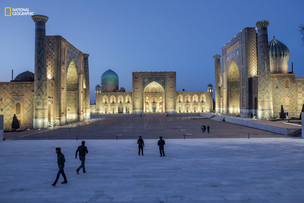 The Registan is the square in the heart of the ancient Silk Road hub of Samarqand, now a World Heritage site in Uzbekistan. Restoration of its medieval architecture began decades ago under the former Soviet Union and continues today. Photo by John Stanmeyer/National Geographic