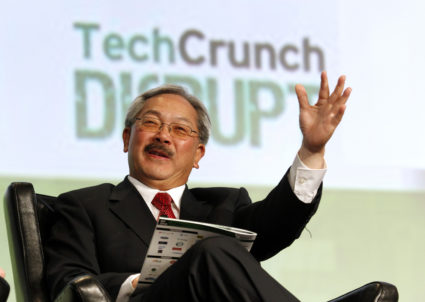 San Francisco Mayor Edwin Lee speaks during a question and answer session at the Tech Crunch Disrupt conference in San Francisco, California, September 11, 2012. REUTERS/Beck Diefenbach (UNITED STATES - Tags: BUSINESS SCIENCE TECHNOLOGY POLITICS) - GM1E89C04MB01