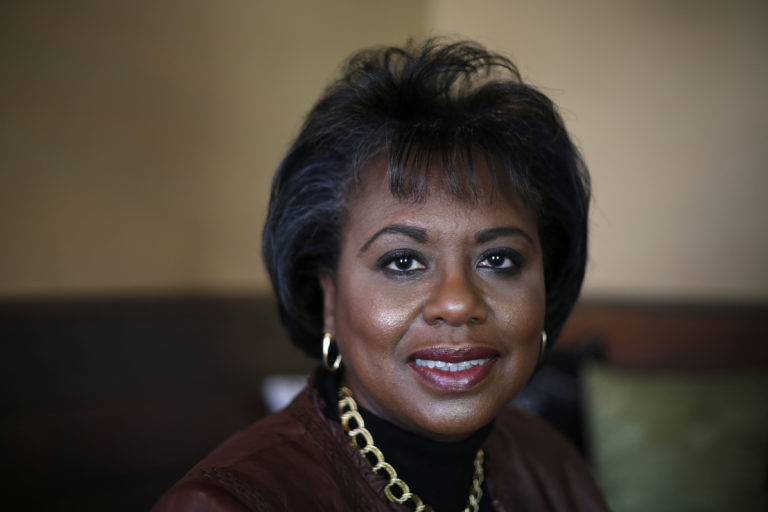 """Anita Hill, the subject of the film """"Anita"""" poses for a photo during the Sundance Film Festival in Park City, Utah"""