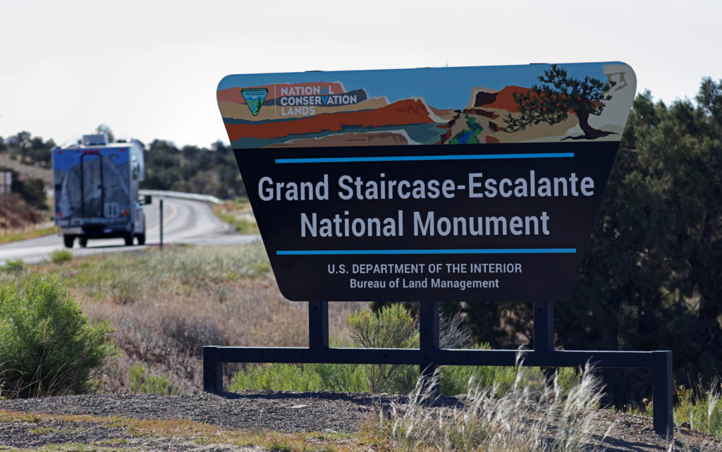 The entrance to Grand Staircase-Escalante National Monument is seen outside of Escalante, Utah