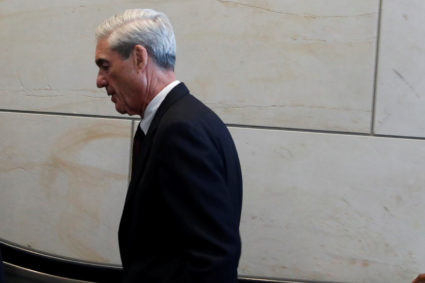 Special Counsel Robert Mueller departs after briefing the House Intelligence Committee on Capitol Hill in Washington, U.S.
