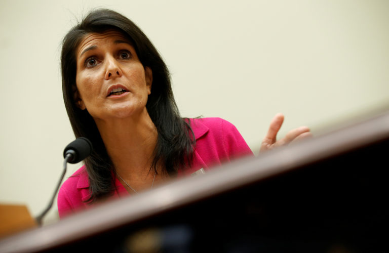 """U.S. Ambassador to the United Nations Nikki Haley testifies to the House Foreign Affairs Committee on """"Advancing U.S. Interests at the United Nations"""" in Washington"""