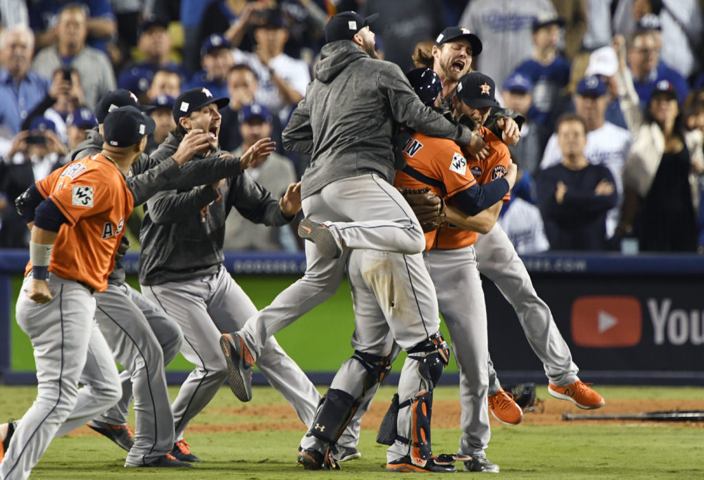 The Houston Astros defeated the Los Angeles Dodgers in game seven to win the 2017 World Series at Dodger Stadium, Los Angeles. Photo by Robert Hanashiro/USA Today Sports via Reuters